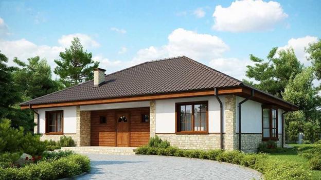 Одноэтажный дом из газоблока с отделкой фасада камнем под ключ от 2 500 000