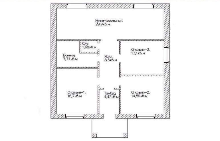 Планировка одноэтажного дома.
