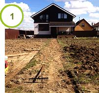 Срез плодородного грунта и уборка травы, опка и выемка грунта для подушки