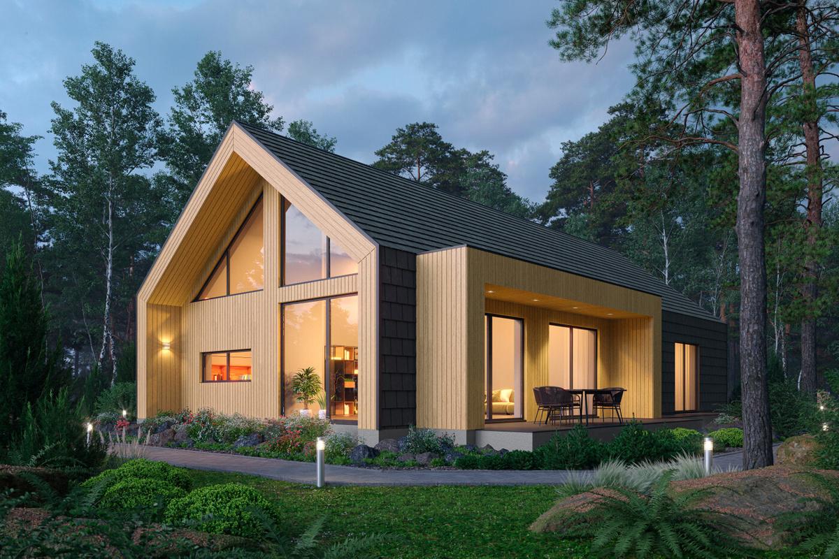 Дом из шлакоблока в стиле барнхаус